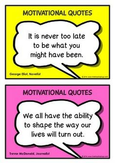 A set of 30 printables of motivational quotes that will encourage and inspire students within the classroom and everyday life. Each quote is within a visual speech bubble that shows the famous person who stated the quote. Great for when students go back to school as well! Visit our TpT store for more information and for other classroom display resources by clicking on the provided links.
