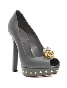 ALEXANDER MCQUEEN Punk Skull Leather Peep Toe Pumps