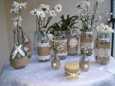 Baby Shower Table Centerpieces, Wedding Shower Decorations, Vase Centerpieces, Centerpiece Decorations, Jute Crafts, Diy Home Crafts, Bottles And Jars, Mason Jars, Party Deco