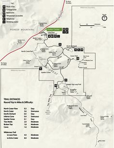 map-trail-distances craters of the moon national park