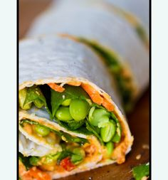 Hummus, edamame, carrots, & spinach spiral wrap.
