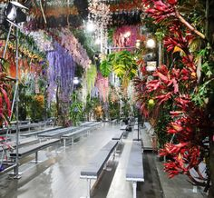 Dior Catwalk SS14 Paris Raf Simons mixes Scaffolding and fresh flowers… |