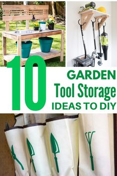 Are rakes and shoves falling everywhere? Did you lose your trowel AGAIN? Get all your landscaping equipment organized with these genius garden tool storage ideas! Smart Storage, Storage Hacks, Diy Storage, Storage Solutions, Storage Ideas, Garden Organization, Garden Tool Storage, Garden Tools, Outdoor Tool Storage