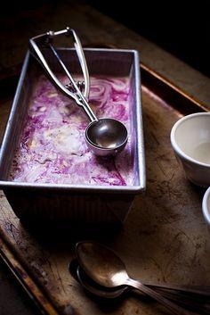 Honey-Thyme & Blackberry–Goat Cheese Swirl Ice Cream