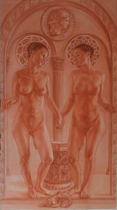"""The two Ipazie: Plato's mind and the body of aphrodite"" sanguine on on white paper pressed on panel cm 100x180"