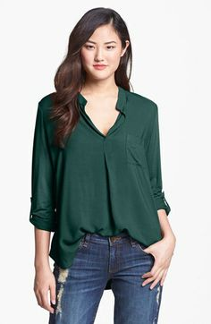 Pleione Mixed Media Roll Sleeve Top (Regular & Petite) available at #Nordstrom