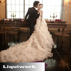 Affordable Ivory White Cap Sleeve Formal Royal Wedding Gowns Dresses SKU-119038