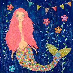 Mermaid Painting  Mermaid Art  Mermaid Illustration  by Sascalia
