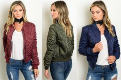 This Jenna Bomber Jacket is the perfect addition to your fall wardrobe. Pair it will a t-shirt, scarf, and your favorite pair of boots and your set for fall walk through the leaves.