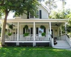 Southern style farm house with wrap around porch, charming southern cottage . by Shanna L Revels Southern Cottage, Southern Homes, Southern Farmhouse, Southern Porches, Southern Charm, Southern Home Plans, Country Porches, Coastal Cottage, Farmhouse Front Porches