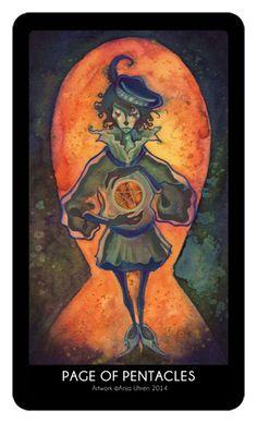 Page of Pentacles - 78 Tarot by Anja Uhren King Of Swords, Ace Of Swords, Page Of Pentacles, The Hierophant, Tarot Card Meanings, Hero's Journey, Cartomancy, International Artist, Tarot Decks