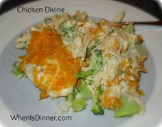 chicken divine casserole I will be substituting the mayo with Greek yogurt or low fat sour cream. Easy Chicken Recipes, Easy Dinner Recipes, New Recipes, Cooking Recipes, Favorite Recipes, Easy Recipes, Dinner Ideas, Recipies, Broccoli Dishes
