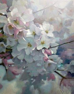 Cherry Light - a delicate oil painting by German born US artist Michael Godfrey. Oil Painting Flowers, Watercolour Painting, Watercolor Flowers, Watercolors, Gauche Painting, Arte Floral, Watercolor Landscape, Botanical Art, Flower Art