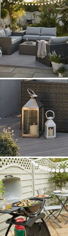 The easiest way to add some Boho glam to your garden is with lighting. String fairy lights over a comfy seating area, line pathways and divide areas with lanterns, and add some solar lights to your fence for when you get the barbecue out! Backyard Seating, Backyard Patio, Backyard Ideas, Patio Ideas, Fence Ideas, Terrace Ideas, Barbecue Ideas Backyard, Seating Area In Garden, Bbq Area Garden