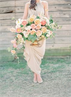 peach wedding florals designed by Fern Studios