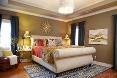 . bedroom . home decor . interior design . luxury . bed . nightstand . bedding .