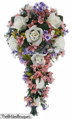 Wildflower Cascade - Artificial Silk Bridal Wedding Bouquet - TheBridesBouquet.com