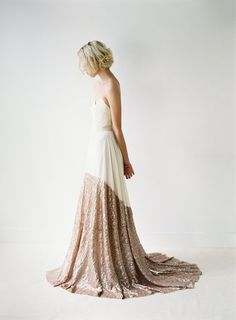 fucking LOVE.  Sierra // A Modern Chiffon and Rose Gold Sequinned by Truvelle