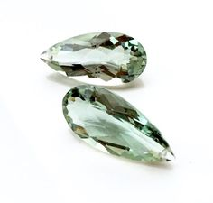 These remind me of green sapphire...which is SO expensive but dreamy!  This pair is extremely large and measure 30mm x 14.5mm and are 10mm thick. These would make absolutely stunning earrings! There are no external flaws and these are VVS (eye clean) in clarity - front drilled. ~Buyer will receive the pair pictured~