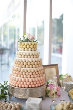 With cake pops still so popular I have been waiting to find a wedding cake that kind of uses them. And here it is!  I love the use of different colors and shades on each layer.