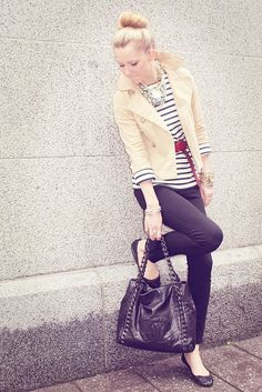 Preppy stripes and skinny jeans campus style