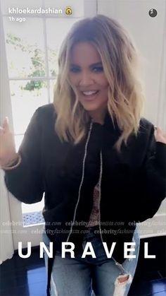 Khloe Kardashian Snapchat: Unravel Cropped Bomber Jacket | http://celebrityfashionista.com/khloe-kardashian/unravel-cropped-bomber-jacket/