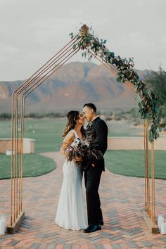DIY Homemade Copper Piping Ceremony Backdrop with greenery See ...
