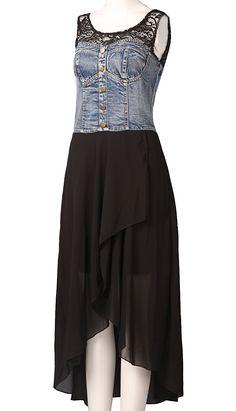 i  love this dress.. Black Contrast Denim Sleeveless High Low Dress