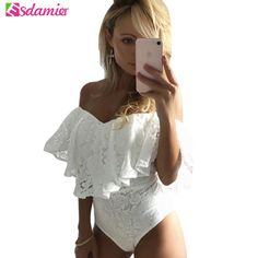 ForeFair Sexy Slash Neck Ruffles Bodysuit Top Black White Pink Short Floral  Lace Jumpsuit Plus Size Skinny Women Romper ad7a1fa0a70
