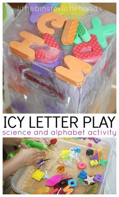 Letter Sounds Activity Sensory Play. Ice science melt science and alphabet activity for preschool.