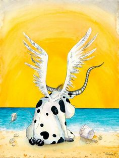 Some beach some where is a cow angel....