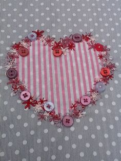 Embroided applique Candy stripe heart Panel- Free Postage!