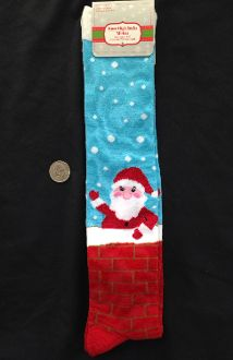 Christmas Novelty-CUTE SANTA CLAUS in CHIMNEY KNEE SOCKS-Holiday Stockings Stuffer. UNISEX (Women's Size 9-11) Holiday Clothing Accessory Gift. Red, Blue Multi-Color stockings fit women's shoe sizes 4-10. - http://horror-hall.com/Fun-Novelty-SANTA-CHIMNEY-KNEE-SOCKS-Holiday-Christmas-Stockings-HH-DT-P920XK-CHIM.htm