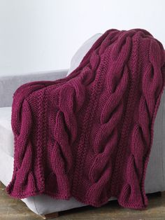 Cos Cob Throw - Free Knitting Pattern With Website Registration - (lionbrand)