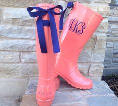 Hey, I found this really awesome Etsy listing at https://www.etsy.com/listing/188133243/coral-rain-boot-with-your-choice-of