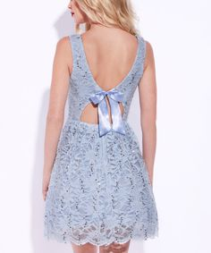 Another great find on #zulily! Baby Blue Sequin Lace Fit & Flare Dress by Josh & Jazz #zulilyfinds