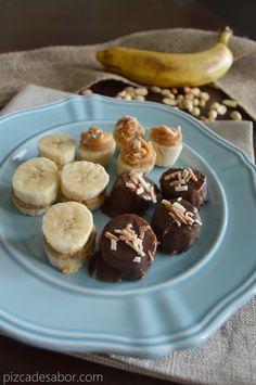 3 botanas dulces o snacks saludables de plátano (para niños o adultos) | http://www.pizcadesabor.com/2013/08/08/3-botanas-dulces-o-snacks-saludables-de-platano-para-ninos-o-adultos/