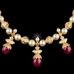 Kameswari Jewellers says… Pearl Necklace Designs, Beaded Jewelry Designs, Gold Jewellery Design, Jewelry Patterns, Beaded Jewellery, Ruby Jewelry, Gold Jewelry, Gold Bangles, Jewelry Shop