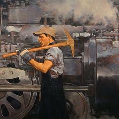n oldie from a few years back 40x40 oil. #josephlorusso #artist #paintingsofpeople #workingman #contemporaryart #realism #artofthewest