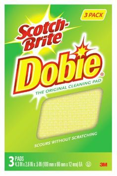 Scotch-Brite  Cleaning Pad , 3 pads by Scotch-Brite. $6.92. 4.3 in x 2.6 in x 0.5 in. The original. Scours without scratching. Value 3 pak. Kitchen: All Teflon and Silverstone coated cookware, dishes and china, counter tops, aluminum and cast iron, enamel and porcelain, appliances, fruits and vegetables. Bathroom: Tile, shower door and fixtures. Household: Walls and spot cleans carpets. Clothing: Spot cleans clothing, suede shoes and hats. Automobiles: Cleans chrome and...