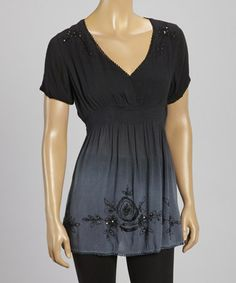 This Charcoal Gray Beaded Embroidered Top - Women by Raya Sun is perfect! #zulilyfinds