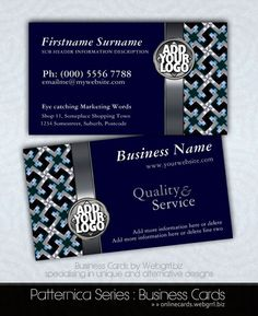Navy Blue Silver Textile Pattern w/ Logo Business Cards