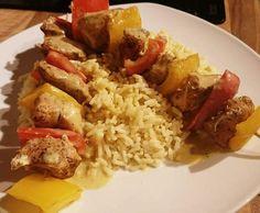 Rezept Hähnchen-Paprika-Spieße mit Reis und Curry-Senf-Soße von Thermo-Welt - Rezept der Kategorie Hauptgerichte mit Fleisch