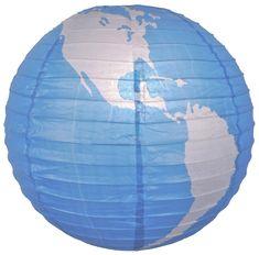 "16"" World Earth Globe Paper Lantern"