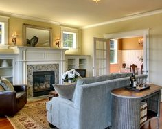 Fireplace With Built Ins & windows above