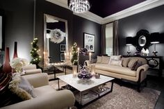 Victorian with purple ceiling, gray walls and black floor. Beautiful. From HGTV show Colour Confidential.