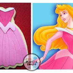 #Disney, Sleeping Beauty #cookies   Princesas Galleta vestido la bella durmiente