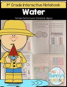 #watercycle  FREE!  Learning about water in first grade interactive notebook by Whitney Grantham