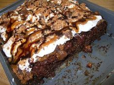 Butterfinger Cake.  Another one of my families favorite recipe.  I'm asked to bake this all the time.  Learned it from my SIL.  It is incredibly rich and the most delicious cake I've ever had.  -Julie