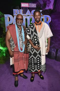 John Kani (L) and Atandwa Kani (R) wore MaXhosa by Laduma shawls at the premiere of Disney and Marvel's 'Black Panther' at Dolby Theatre on January 2018 in Hollywood, California. Black Panther Marvel, Black Panther Movie 2018, Xhosa Attire, African Attire, World Of Wakanda, Young T, Comic Book Characters, Comic Books, Black Pride